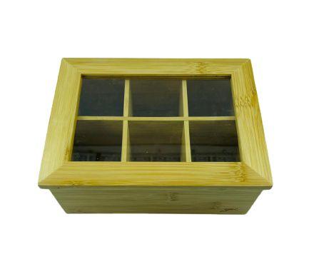 Porta Chá Bambu 6 Divisórias