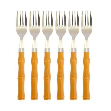 Garfo para Sobremesa 6 Peças Cabo Plástico de Bambu 1181