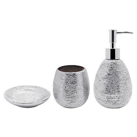 Conjunto Banheiro Lunar 3 Peças - Prata