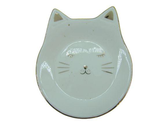 Porta Joia do dia Cerâmica Gato 13x12cm - Branco/Dourado 67005