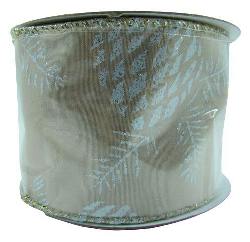 Fita Aramada Tecido com Glitter 6,3x9,14M  - Champagne/Branco