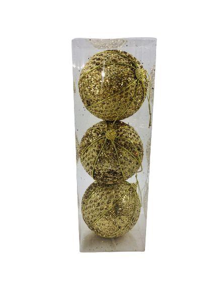 Bola Natal Fio de Ouro Dourado X3 10CM - BF7168