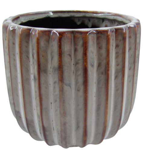 Vaso de Cerâmica Frizado 13,5cm x Ø12cm - Bege