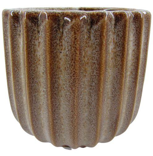 Vaso de Cerâmica Frizado 13,5cm x Ø12cm - Marrom