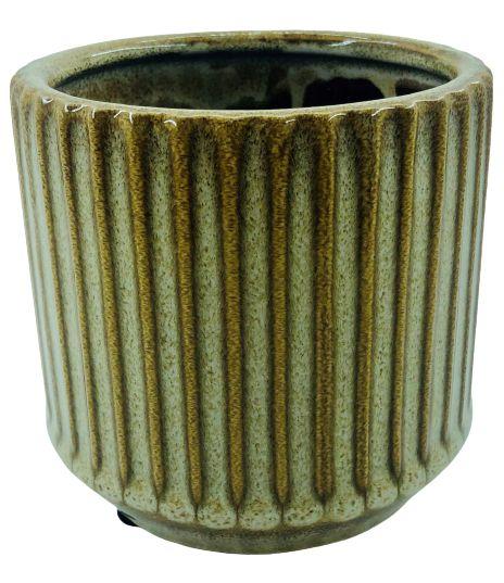 Vaso de Cerâmica Riscado 12CMxØ11,5 - Marrom