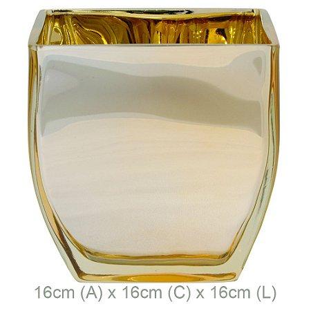 Vaso de Vidro Quadrado/Arredondado 16cm - Dourado
