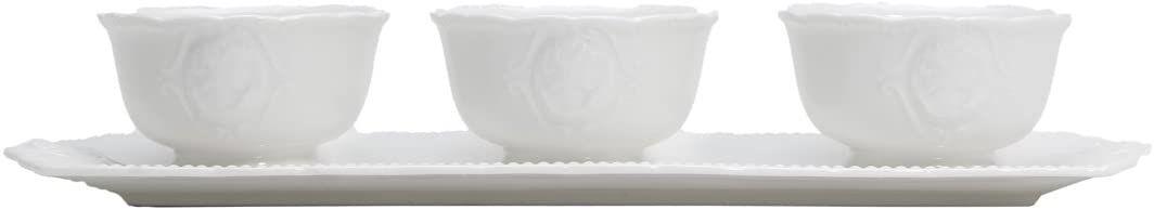 Conjunto com 3 Petisqueira Porcelana White Queen