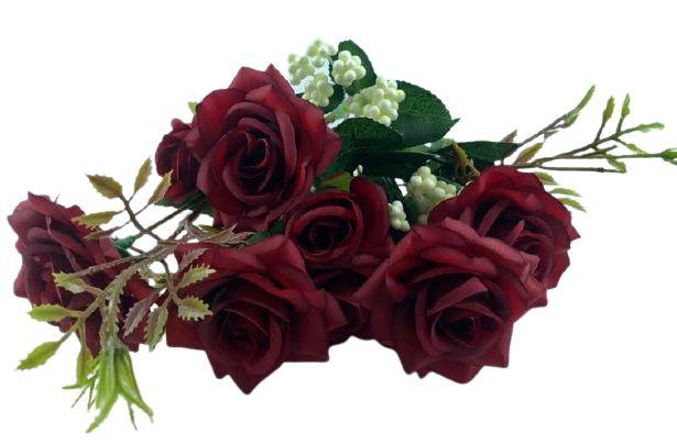 Buque Rosa Diamante X6 30CM Vermelho