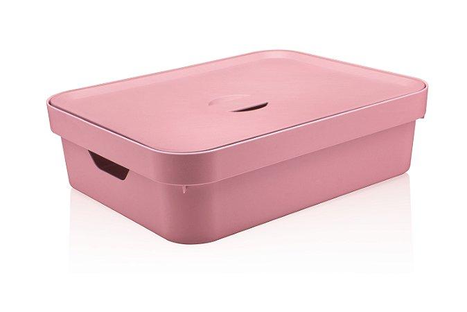 Caixa Organizadora Baixa Rosa Quartzo C/Tampa 16L CC550