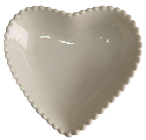 Coração Cerâmica Grande Branco 14,5 x 14, 5