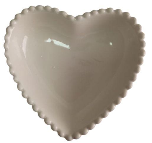 Coração Cerâmica Pequeno Branco 9,3 x 9,2