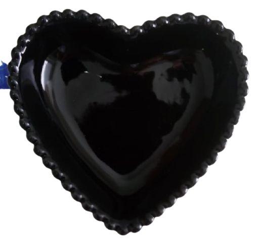 Coração Cerâmica Pequeno Preto 9,3 x 9,2 2008080
