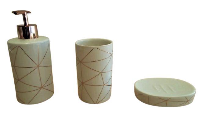 Kit Banheiro Cerâmica 3 Peças ZT8556
