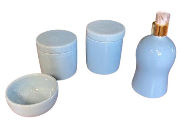 Kit Bebe Cerâmica 4 Peças Azul
