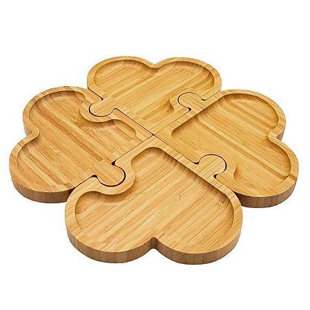 Petisqueira 4 Divisões Bambu Heart 1343