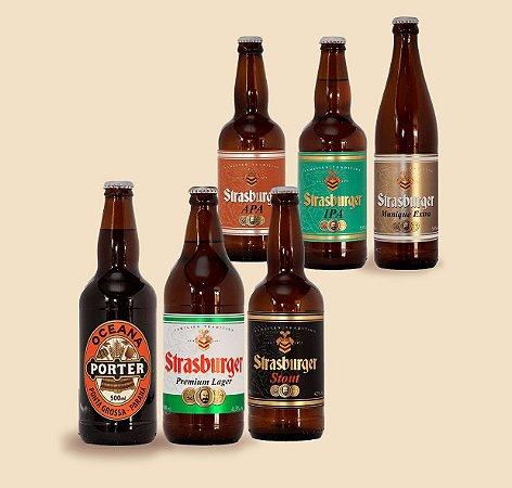 Cerveja artesanal - kit 6/un - IPA, APA, Stout, Premium Lager, Munique Extra e Oceana Porter 500ml