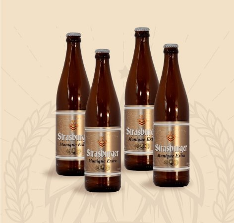 Cerveja artesanal kit Stras 1 - Kit 4/un cerveja Munique Extra 500ml - Strasburger