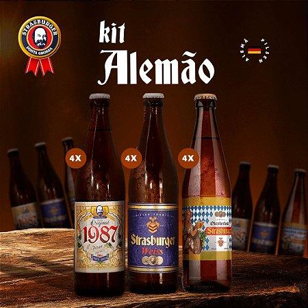 Cerveja artesanal kit Stras 20 - KIT ALEMÃO - 12 Unidades, 4 Original 1987 + 4 Weiss + 4 Oktoberfest, 500ml - Strasburger