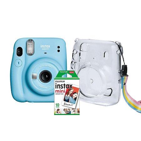 Kit Câmera Instax Mini 11 com pack 10 fotos e bolsa Crystal Azul