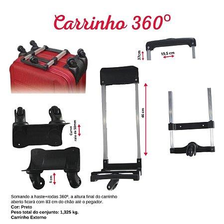 CARRINHO 360 GRAUS (50CM) RODINHA 18,5CM COR PRETO
