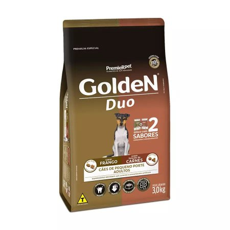 Ração Golden Duo Cães Adultos de Pequeno Porte Sabor Frango Caipira e Carnes ao Molho - 3kg