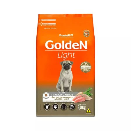 Ração Golden Fórmula Mini Bits Light para Cães Adultos de Pequeno Porte Sabor Frango e Arroz 3kg