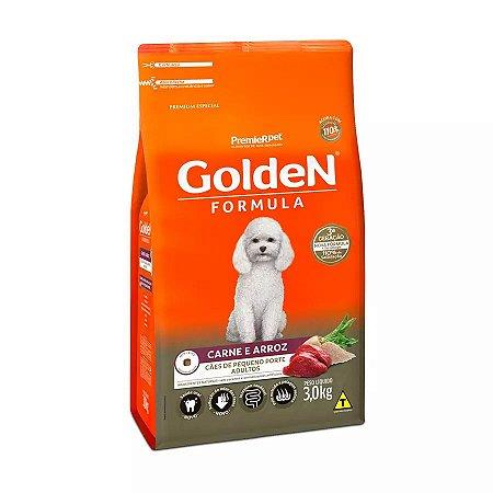 Ração Golden Fórmula Mini Bits Para Cães Adultos Pequeno Porte Sabor Carne e Arroz 3kg