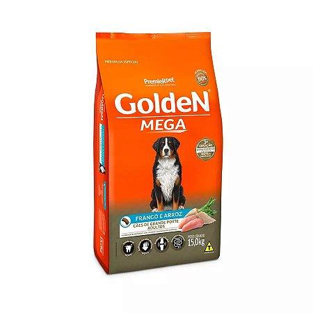 Ração Golden Formula Mega Cães Adultos de Raças Grandes Sabor Frango e Arroz - 15kg
