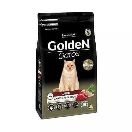 Ração Golden para Gatos Adultos Castrados Sabor Carne 3kg