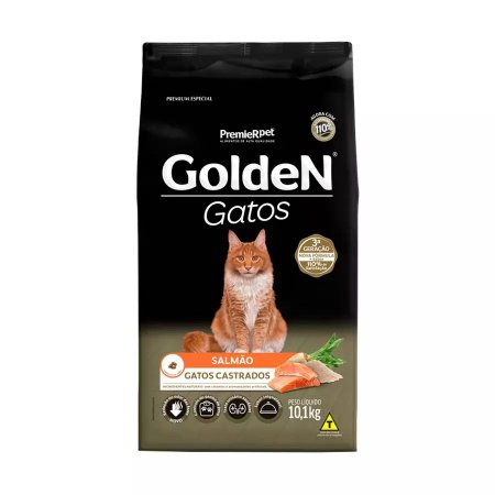 Ração Golden para Gatos Adultos Castrados Sabor Salmão 10,1kg