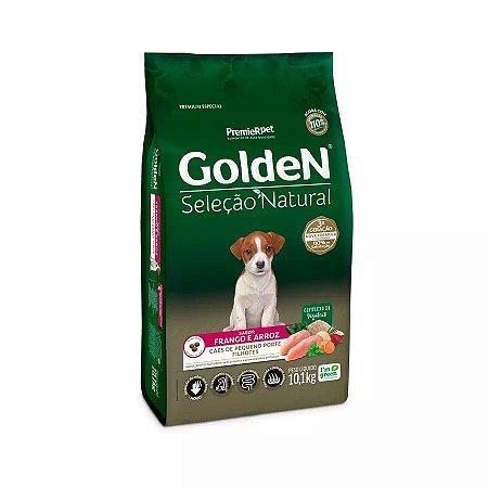 Ração Golden Seleção Natural para Cães Filhotes de Raças Pequenas Mini Bits Sabor Frango e Arroz 10kg