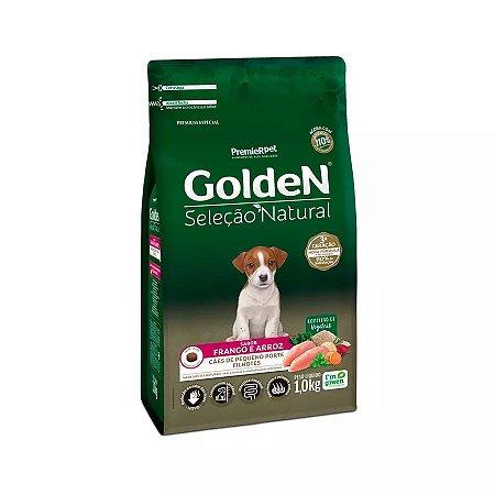 Ração Golden Seleção Natural para Cães Filhotes de Raças Pequenas Mini Bits Sabor Frango e Arroz 1kg
