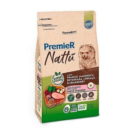 Ração Premier Nattu para Cães Filhotes de Raças Pequenas Sabor Mandioca 1kg
