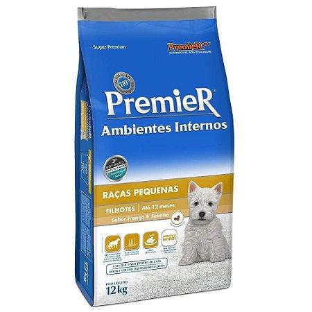 Ração Premier Para Cães Filhotes De Raças Pequenas Ambientes Internos Sabor Frango E Salmão 1kg