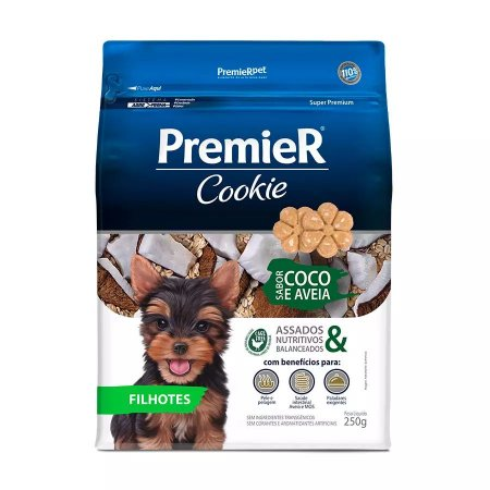 Biscoito Premier Cookie Para Cães Filhotes De Pequeno Porte Sabor Coco E Aveia 250g