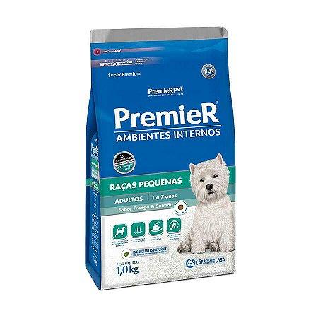 Ração Premier Ambientes Internos Para Cães Adultos Sabor Frango E Salmão 1kg