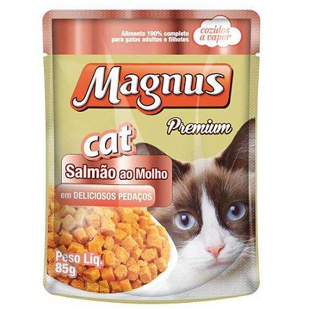 Ração Úmida Magnus Sachê Magnus Para Gatos Castrados Sabor Salmão - 85g