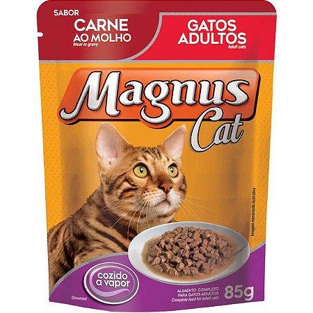 Ração Úmida Magnus Sachê Magnus Para Gatos Sabor Carne Ao Molho - 85g