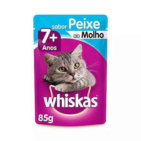 Ração Úmida Whiskas Para Gatos Adultos 7+ Anos Sachê Sabor Peixe Ao Molho - 85g
