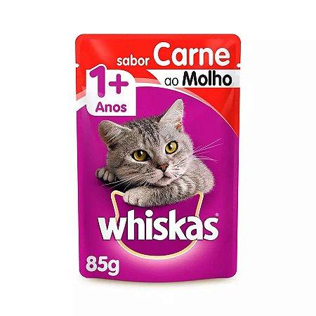 Ração Úmida Whiskas Sachê Para Gatos Adultos Sabor Carne Ao Molho - 85g
