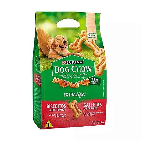 Biscoito Dog Chow Carinhos Integral para Cães Adultos de Raças Médias e Grandes Sabor Frango 1kg