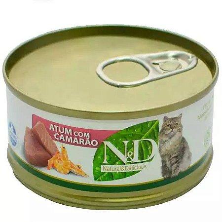 Ração Úmida N&D Lata Para Gatos Adultos Sabor Atum e Camarão - 70g