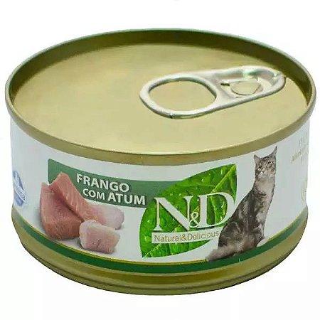 Ração Úmida N&D Lata Para Gatos Adultos Sabor Atum e Frango - 70g