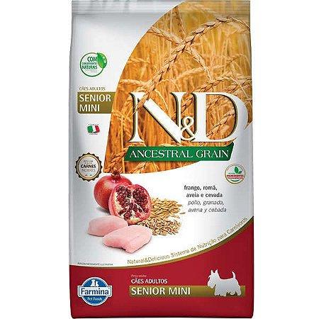 Ração Farmina N&D Ancestral Grain para Cães Sênior de porte Mini sabor Frango e Romã 800G