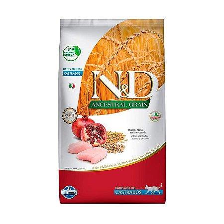 Ração Farmina N&D Ancestral Grain para Gatos Castrados Sabor Frango e Romã 1,5kg