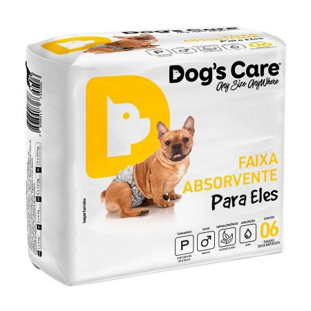 Fralda Higiênica Dogs Care com Gel para Cães Machos 6 Unidades P