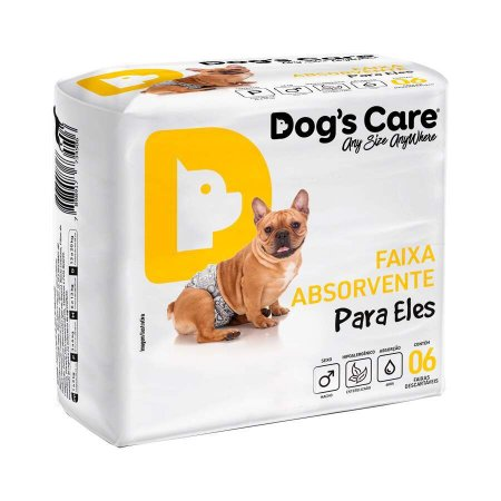 Fralda Higiênica Dogs Care com Gel para Cães Machos 6 Unidades GG