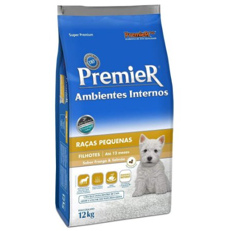 Ração Premier para Cães Filhotes de Raças Pequenas Ambientes Internos Sabor Frango e Salmão 12kg