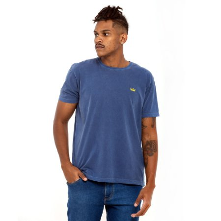 Camiseta Osklen Azul logo amarelo mini