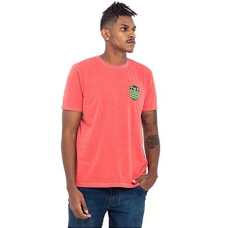 Camiseta Osklen salmão logo verde